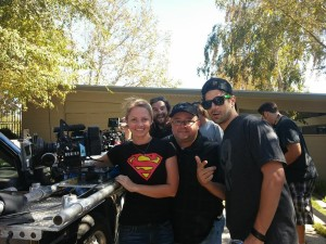 """Laura Beth Love (Cinematographer), Gabriel Campisi (Producer) and Jared Cohn (Director) shooting """"The Horde"""""""