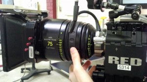 Prepping a 75mm Master Prime on the Red Epic