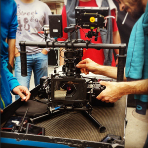 Setting up the Movi at Nu Boyana Film School