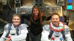 DP, Laura Beth Love poses with Ian Ziering and David Hasselhoff on the set of Sharknado 3