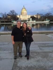 Scott Wheeler and Laura Beth Love on the set of Sharknado 3